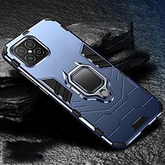 Coque Contour Silicone et Plastique Housse Etui Mat avec Magnetique Support Bague Anneau pour Huawei Nova 8 SE 5G Bleu