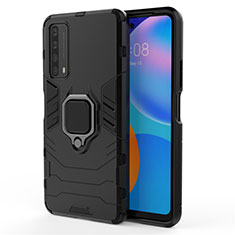 Coque Contour Silicone et Plastique Housse Etui Mat avec Magnetique Support Bague Anneau pour Huawei P Smart (2021) Noir