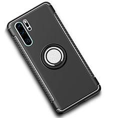 Coque Contour Silicone et Plastique Housse Etui Mat avec Magnetique Support Bague Anneau pour Huawei P30 Pro Noir
