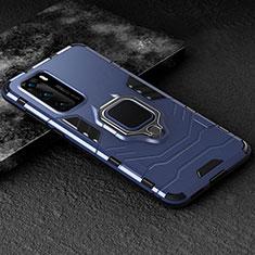 Coque Contour Silicone et Plastique Housse Etui Mat avec Magnetique Support Bague Anneau pour Huawei P40 Bleu