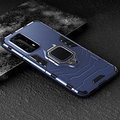 Coque Contour Silicone et Plastique Housse Etui Mat avec Magnetique Support Bague Anneau pour Huawei P40 Pro+ Plus Bleu