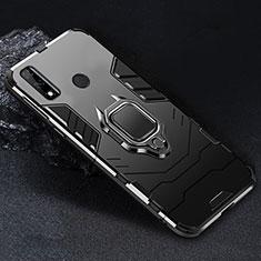 Coque Contour Silicone et Plastique Housse Etui Mat avec Magnetique Support Bague Anneau pour Huawei Y8s Noir