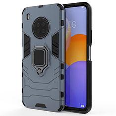 Coque Contour Silicone et Plastique Housse Etui Mat avec Magnetique Support Bague Anneau pour Huawei Y9a Bleu