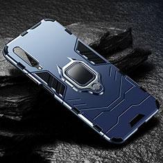 Coque Contour Silicone et Plastique Housse Etui Mat avec Magnetique Support Bague Anneau pour Huawei Y9s Bleu