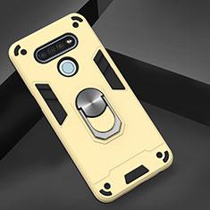 Coque Contour Silicone et Plastique Housse Etui Mat avec Magnetique Support Bague Anneau pour LG K51 Or