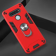 Coque Contour Silicone et Plastique Housse Etui Mat avec Magnetique Support Bague Anneau pour LG K51 Rouge
