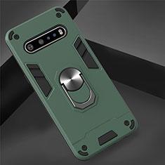 Coque Contour Silicone et Plastique Housse Etui Mat avec Magnetique Support Bague Anneau pour LG V60 ThinQ 5G Vert