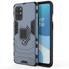 Coque Contour Silicone et Plastique Housse Etui Mat avec Magnetique Support Bague Anneau pour OnePlus 8T 5G Bleu