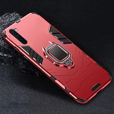 Coque Contour Silicone et Plastique Housse Etui Mat avec Magnetique Support Bague Anneau pour OnePlus Nord Rouge