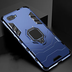 Coque Contour Silicone et Plastique Housse Etui Mat avec Magnetique Support Bague Anneau pour Oppo A12e Bleu
