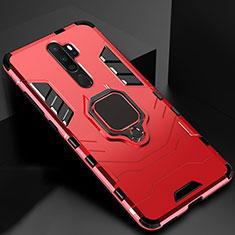 Coque Contour Silicone et Plastique Housse Etui Mat avec Magnetique Support Bague Anneau pour Oppo A9 (2020) Rouge