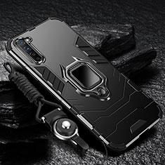 Coque Contour Silicone et Plastique Housse Etui Mat avec Magnetique Support Bague Anneau pour Oppo F15 Noir