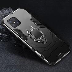 Coque Contour Silicone et Plastique Housse Etui Mat avec Magnetique Support Bague Anneau pour Oppo Reno4 Z 5G Noir