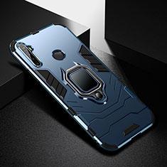 Coque Contour Silicone et Plastique Housse Etui Mat avec Magnetique Support Bague Anneau pour Realme 5 Pro Bleu