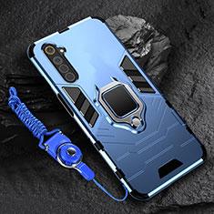 Coque Contour Silicone et Plastique Housse Etui Mat avec Magnetique Support Bague Anneau pour Realme 6 Bleu