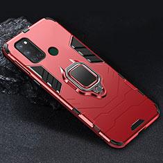 Coque Contour Silicone et Plastique Housse Etui Mat avec Magnetique Support Bague Anneau pour Realme C17 Rouge