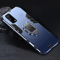 Coque Contour Silicone et Plastique Housse Etui Mat avec Magnetique Support Bague Anneau pour Realme V5 5G Bleu