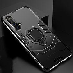 Coque Contour Silicone et Plastique Housse Etui Mat avec Magnetique Support Bague Anneau pour Realme X3 Noir
