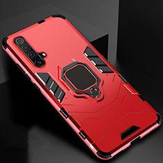 Coque Contour Silicone et Plastique Housse Etui Mat avec Magnetique Support Bague Anneau pour Realme X3 Rouge