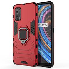 Coque Contour Silicone et Plastique Housse Etui Mat avec Magnetique Support Bague Anneau pour Realme X7 Pro 5G Rouge