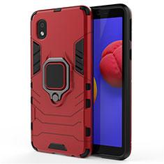 Coque Contour Silicone et Plastique Housse Etui Mat avec Magnetique Support Bague Anneau pour Samsung Galaxy A01 Core Rouge