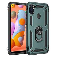 Coque Contour Silicone et Plastique Housse Etui Mat avec Magnetique Support Bague Anneau pour Samsung Galaxy A11 Pastel Vert