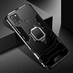 Coque Contour Silicone et Plastique Housse Etui Mat avec Magnetique Support Bague Anneau pour Samsung Galaxy A21s Noir
