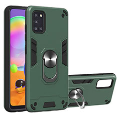 Coque Contour Silicone et Plastique Housse Etui Mat avec Magnetique Support Bague Anneau pour Samsung Galaxy A31 Vert