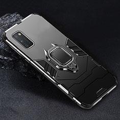 Coque Contour Silicone et Plastique Housse Etui Mat avec Magnetique Support Bague Anneau pour Samsung Galaxy A41 Noir