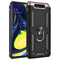 Coque Contour Silicone et Plastique Housse Etui Mat avec Magnetique Support Bague Anneau pour Samsung Galaxy A80 Noir