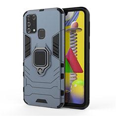 Coque Contour Silicone et Plastique Housse Etui Mat avec Magnetique Support Bague Anneau pour Samsung Galaxy M21s Bleu