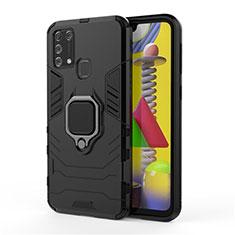 Coque Contour Silicone et Plastique Housse Etui Mat avec Magnetique Support Bague Anneau pour Samsung Galaxy M21s Noir
