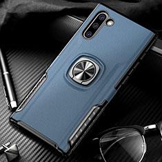 Coque Contour Silicone et Plastique Housse Etui Mat avec Magnetique Support Bague Anneau pour Samsung Galaxy Note 10 Bleu