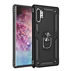 Coque Contour Silicone et Plastique Housse Etui Mat avec Magnetique Support Bague Anneau pour Samsung Galaxy Note 10 Plus Noir