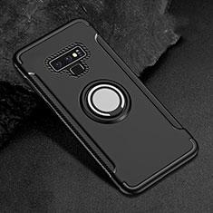 Coque Contour Silicone et Plastique Housse Etui Mat avec Magnetique Support Bague Anneau pour Samsung Galaxy Note 9 Noir