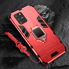 Coque Contour Silicone et Plastique Housse Etui Mat avec Magnetique Support Bague Anneau pour Samsung Galaxy S10 Lite Rouge