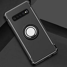 Coque Contour Silicone et Plastique Housse Etui Mat avec Magnetique Support Bague Anneau pour Samsung Galaxy S10 Noir