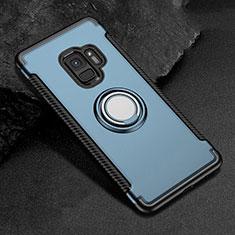 Coque Contour Silicone et Plastique Housse Etui Mat avec Magnetique Support Bague Anneau pour Samsung Galaxy S9 Bleu