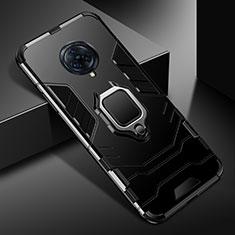 Coque Contour Silicone et Plastique Housse Etui Mat avec Magnetique Support Bague Anneau pour Vivo Nex 3 5G Noir