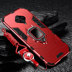 Coque Contour Silicone et Plastique Housse Etui Mat avec Magnetique Support Bague Anneau pour Vivo S1 Pro Rouge