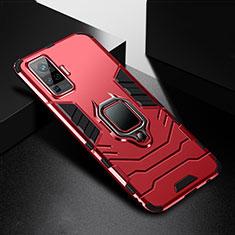 Coque Contour Silicone et Plastique Housse Etui Mat avec Magnetique Support Bague Anneau pour Vivo X50 Pro 5G Rouge