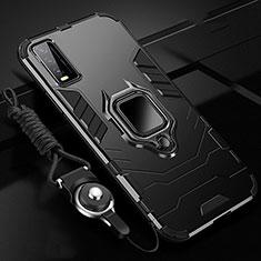 Coque Contour Silicone et Plastique Housse Etui Mat avec Magnetique Support Bague Anneau pour Vivo Y12s Noir