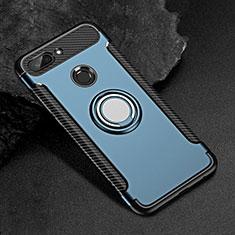 Coque Contour Silicone et Plastique Housse Etui Mat avec Magnetique Support Bague Anneau pour Xiaomi Mi 8 Lite Bleu