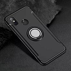 Coque Contour Silicone et Plastique Housse Etui Mat avec Magnetique Support Bague Anneau pour Xiaomi Mi 8 Noir