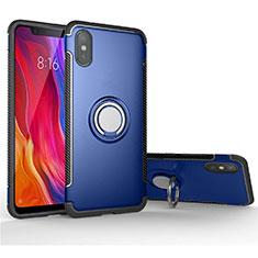 Coque Contour Silicone et Plastique Housse Etui Mat avec Magnetique Support Bague Anneau pour Xiaomi Mi 8 Pro Global Version Bleu