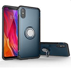 Coque Contour Silicone et Plastique Housse Etui Mat avec Magnetique Support Bague Anneau pour Xiaomi Mi 8 Pro Global Version Cyan