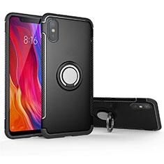 Coque Contour Silicone et Plastique Housse Etui Mat avec Magnetique Support Bague Anneau pour Xiaomi Mi 8 Pro Global Version Noir