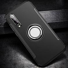 Coque Contour Silicone et Plastique Housse Etui Mat avec Magnetique Support Bague Anneau pour Xiaomi Mi 9 Noir