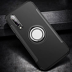 Coque Contour Silicone et Plastique Housse Etui Mat avec Magnetique Support Bague Anneau pour Xiaomi Mi 9 SE Noir