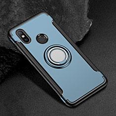Coque Contour Silicone et Plastique Housse Etui Mat avec Magnetique Support Bague Anneau pour Xiaomi Mi Max 3 Bleu